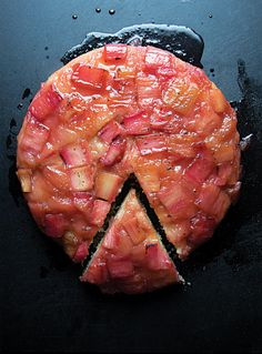 Rhubarb Upside-Down Cake: Beautiful, indulgent, and perfect for spring.