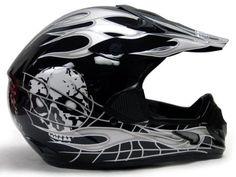 Amazon.com: TMS® Black Silver Skull Flame Motocross MX ATV Off-Road Helmet DOT (Medium): Automotive $27.95 http://skullcart.com/tms-black-silver-skull-helmet-flame-motocross/ #skull #helmet #motorcycle #skullcart