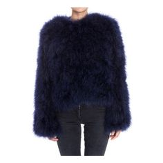 MSGM Fur Coat (€930) ❤ liked on Polyvore featuring outerwear, coats, blue, fur coat, msgm, blue fur coat, feather coat and msgm coat