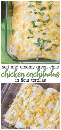 Sour Cream Chicken Enchilada Green chile chicken enchiladas made from chicken, sour cream, cream cheese and more stuffed into a soft flour tortilla. These are the creamiest chicken enchiladas you will ever find! Sourcream Chicken Enchiladas, White Sauce Enchiladas, Green Chicken Enchiladas, Flour Tortilla Enchiladas, Green Chili Enchiladas, Casserole Enchilada, Enchilada Recipes, Chicken Casserole, Bbq Pitmasters