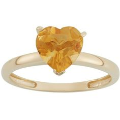 Citrine 10k Gold Heart Ring ($190) ❤ liked on Polyvore featuring jewelry, rings, orange, citrine rings, yellow gold rings, yellow gold heart ring, gold heart jewelry and citrine heart ring