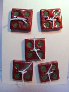 Tumbling Die Copper Polymer Clay Hand Made Buttons Made In USA | Wyverndesigns - Clothing on ArtFire