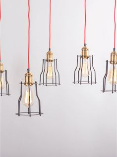 Tilte 6 light black/brass pendant lights