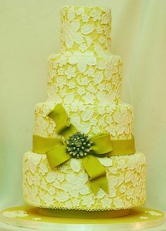 Chartreuse Lace Wedding Cake