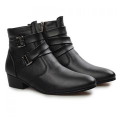 Fashion Buckle and Solid Color Design Boots For Men, BLACK, 43 in Men's Shoes | DressLily.com