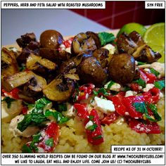 PLEASE LIKE AND SHARE! This pepper, herb and feta salad with roasted mushrooms is delicious - easy to make (even YOU can do it) and makes for a nice, lighter Slimming World lunch! Remember, at www.twochubbycubs.com we post a new Slimming World recipe nearly every day. Our aim is good food, low in syns and served with enough laughs to make this dieting business worthwhile. Please share our recipes far and wide! We've also got a facebook group at www.facebook.com/twochubbycubs - enjoy!
