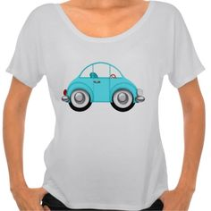 Cute Little Aqua Car Women's Whimsical T-Shirt, adorable little bug type vehicle, fun graphics on tees for women, by cherie. #tshirts #vw #bugs #cars #whimsicalart #graphics #cute