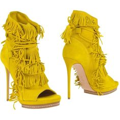 Casadei Ankle Boots (36,440 INR) ❤ liked on Polyvore featuring shoes, boots, ankle booties, yellow, short fringe boots, leather booties, open toe booties, fringe boots and open toe ankle boots