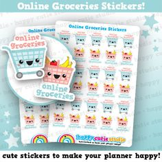 One sheet of 30 cute little online groceries stickers, perfect for your planner!  • Stickers measure approx. 0.6 x 0.7 inches • Sticker sheet measures 4 x 5.5 inches  Printed onto matte paper, each sticker is kiss-cut and ready to peel and stick straight into your planner!  You will receive your order in a board-backed envelope, and the stickers will be inside a waterproof sleeve.  Please note: colours may vary slightly upon printing due to different computer screens.  ----  We ❤ stickers…