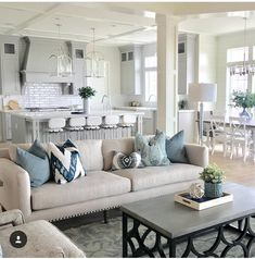 Coffered ceiling and wood insets? This living room is absolutely gorgeous! All the different patterns, colors, fabrics and textures combine to give it so much dimension and beauty! Coastal Living Rooms, Home Living Room, Living Room Designs, Coastal Cottage, Coastal Homes, Coastal Style, Hamptons Living Room, Blue Living Room Decor, Coastal Rugs