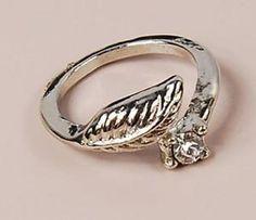 1PCS Unique Silver Tone Rhinestone Studded Leaf Band Cute Ring Free ship hot | eBay