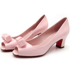 Pink With Decorative Low Heeled Peep Toe Pumps featuring polyvore, fashion, shoes, pumps, pink, pink peep toe shoes, peep toe shoes, embellished pumps, peeptoe pumps and peep-toe pumps