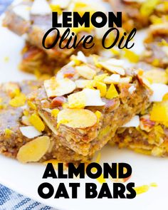 {No-Bake} Lemon Olive Oil Almond Oat Squares - The Nutritious Kitchen