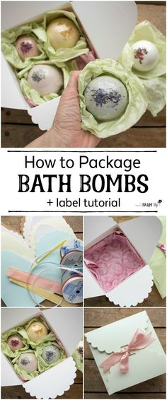 Learn how to package bath bombs individually or in boxes for gift giving; also includes a helpful video tutorial on creating your own bath bomb labels!
