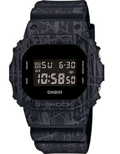 Casio Mens G-Shock - Black & Gray Slash Pattern - Stopwatch - Resin Strap