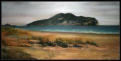 Oleo y arena sobre lienzo 120x70 Playa Salvé de Laredo (Cantabria)