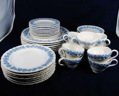 Wedgwood of Etruria & Barlaston Serve 6 Dinnerware EMBOSSED QUEENS WARE England #WedgwoodofEtruriaBarlaston #Victorian