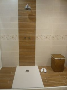 Tile that looks like wood in the shower.   One day we'll actually redo our bathrooms!