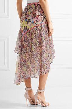 Jason Wu - Asymmetric Ruffled Floral-print Silk-georgette Midi Skirt - Pink - US