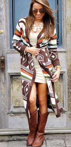 Top 10 Fall Outfit Ideas 2014 – Cowboy brown boots and trendy oversized cardigan dress. Love this outfit Fall Cardigan, Dress With Cardigan, Cardigan Fashion, Dress With Boots, Oversized Cardigan, Aztec Cardigan, Long Cardigan, Tribal Sweater, Aztec Dress