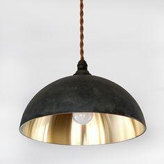 FUTAGAMI真鍮のペンダントランプ鋳肌・半球削り出し仕上げ黒ムラ仕上げ