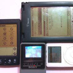 Retro tech with black & white screen: Sony Watchman, Palm, Newton & iPod.