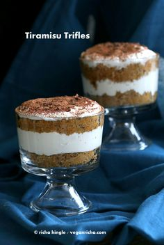 Vegan Tiramisu Trifle These Vegan Tiramisu Trifles have layers of soft vegan sponge cake and whipped coconut cream, cocoa and deliciousness. Tiramisu Trifle, Vegan Tiramisu, Vegan Treats, Vegan Foods, Yummy Treats, Vegan Dessert Recipes, Whole Food Recipes, Vegan Trifle Recipe, Fudge