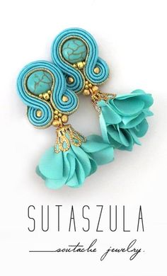 Vibrant jewelry Turquoise Earrings turquoise clip on earrings Trendy Soutache Jewelry turquoise orecchini spring trends Dyi Earrings, Soutache Earrings, Turquoise Earrings, Diy Necklace, Etsy Earrings, Clip On Earrings, Earrings Handmade, Jewelry Making, Fine Jewelry