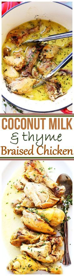 Coconut Milk and Thyme Braised Chicken - Delicious and easy to make one pot chicken dinner cooked in thyme-infused coconut milk and garlic. This was SO GOOD, I may never go back to grilling chicken, again!: