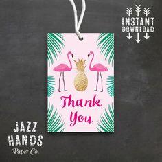 Tropical Flamingo Favor Tags DIY Printable by JazzHandsPaperCo