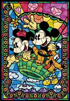 Counted Cross Stitch Pattern, Disney, Mickey Mouse, Minnie Mouse, Stained Glass, Paper Pattern or Complete Kit by dueamici on Etsy https://www.etsy.com/listing/204925680/counted-cross-stitch-pattern-disney