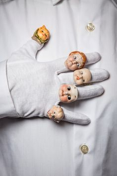 Antique doll rings! - FEEAS jewelry by Remedios Vincent creates jewelry from antique medical instruments, porcelain figures, and prosthetics.