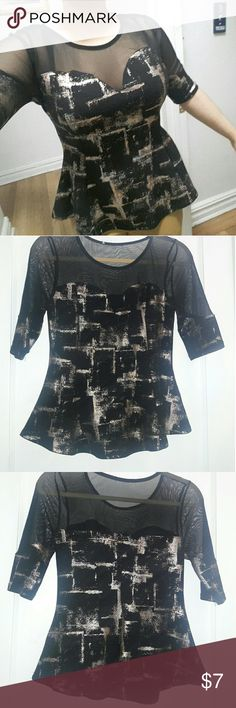 BLACK MESH SWEETHEART PEPLUM BLOUSE This blouse can be paired with jeans, leggings and a nice set of heels or flats for a date night or night out with the girls. It has gold accents on it that really make it pop. Worn once. No namebrand Tops Blouses