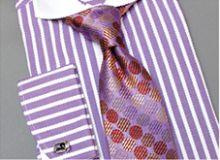 Men's Steven Land Thick Striped Spread Collar Dress Shirt - Purple/White