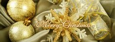 Merry Christmas Gold Facebook Cover CoverLayout.com