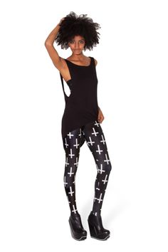 I like these! Haven't gotten any comments jet, but have prepped a speech to mess with people and their prejudices :p Cross of St Peter Black Leggings - LIMITED by Black Milk http://blackmilkclothing.com/products/cross-of-st-peter-black-leggings