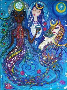 Photo: Yemanja, Ocean Goddess and Eternal Mermaid, now closely linked with Brazil. She is a West African creator goddess who gave birth to the waters and allowed all life to burst forth. Beautiful painting by KarisMa.