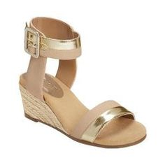 f10837b4a5ceb7 Women s Aerosoles Spa Day Ankle Strap Wedge Sandal Bone Combo Faux Leather