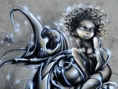 Graffiti Canvas Art, Graffiti Girl, Black Women Art, Black Art, Grafitti Street, Street Art Love, Pin Up, Street Artists, Tag Art
