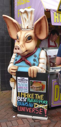 Weymouth pig, promoting its pulled pork buns.