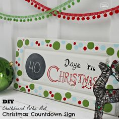 DIY Chalkboard Polka Dot Christmas Countdown Sign side at The Happy Housie #Chalkboard Paint #Christmas #DIY Sign