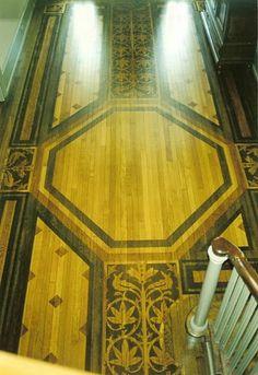 Hand painted floor.  Private residence in Main Line Philadelphia.  Goldthorpe & Edwards, Ltd.