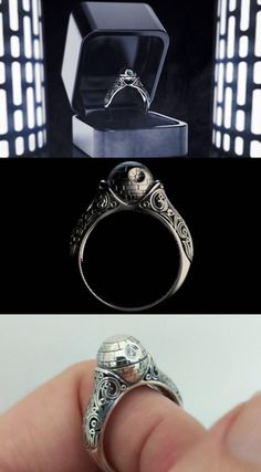 Death Star Engagement Ring Here is another elegant piece of jewelry for Star Wars fans. The Death Star Engagement Ring is available in sterling silver, gold, gold, and Star Wars Ring, Theme Star Wars, Star Wars Fan Art, Star Wars Schmuck, Geek Engagement Rings, Solitaire Engagement, Regalos Star Wars, Star Wars Jewelry, Star Wars Wedding