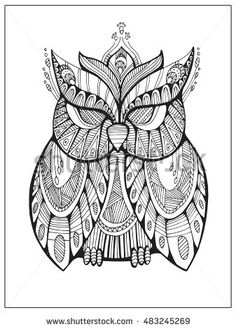 Hand Drawn Stylized Owl Bird Totem For Adult Coloring Page In Zentangle Style Uncolored Illustration With High Details Isolated On White Background Vector