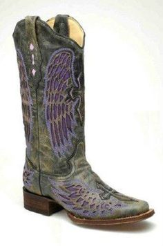 Corral Women's Cowboy Western Boots Black/Purple Wing & Cross Square Toe A1991 #Corral #CowboyWestern