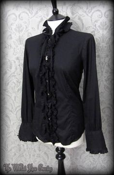 Gothic Victorian Black Frilly High Collar Ruffle Shirt M 10 12 Elegant Vintage | THE WILTED ROSE GARDEN