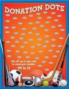 Donation Dots - Sports - Get over profit with this easy fundraiser Chd Awareness, Scratch Off Cards, Activity Games, Activities, School Fundraisers, Softball, Volleyball, Soccer, Silent Auction