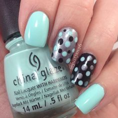 How To : Create Polka Dots On Nails. How To : Create Polka Dots On Nails.Using a bobby pin (hair grip), pull apart into one long bar and dip the end in the colour nail varnish you want the polka dot to be. Dot on your nails Fancy Nails, Trendy Nails, Diy Nails, Cute Nails, Dot Nail Art, Polka Dot Nails, Polka Dots, Teal Nail Art, Nail Colors
