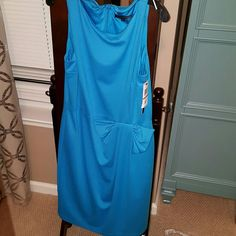 NWT David Meister Size 12 Blue Dress NWT Blue David Meister Size 12, Fully Lined Dress with a Pleated Bow That is Embedded in The Flow of The Dress.. Absolutely, Beautifully Designed.. David Meister Dresses Midi