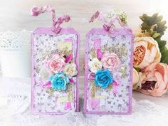 Romantic shabby chic tags video tutorial. #cardmaking #tag #tutorial #scrapbooking #papercraft #tags